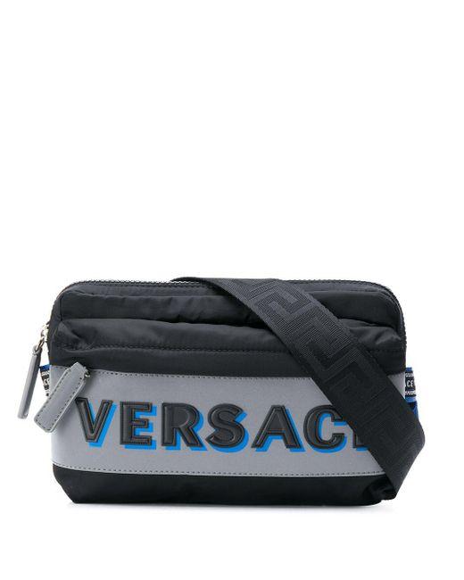 Versace Black Embossed Logo Belt Bag for men