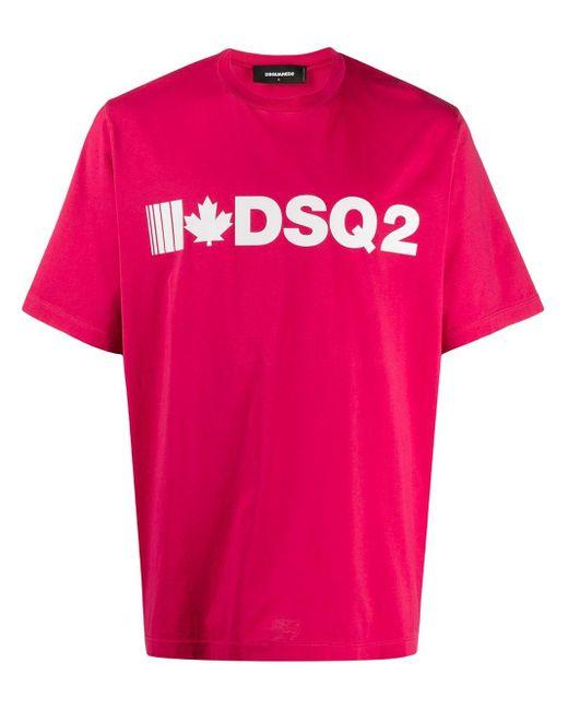 メンズ DSquared² ロゴ Tシャツ Pink