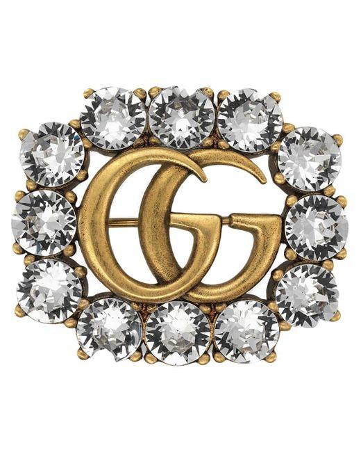 Anello con Doppia G e cristalli di Gucci in Metallic