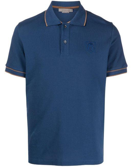 Corneliani Blue Embroidered-logo Cotton Polo Shirt for men
