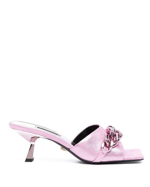 Versace チェーントリム ミュール Pink