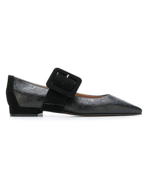 L'Autre Chose - Black Buckle Ballerina Shoes - Lyst