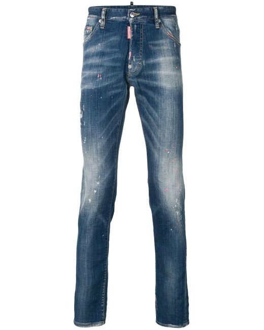 DSquared² Blue Faded Slim Fit Jeans for men