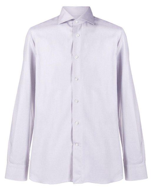 メンズ Canali チェックシャツ White