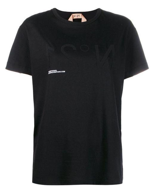 N°21 ロゴプリント Tシャツ Black