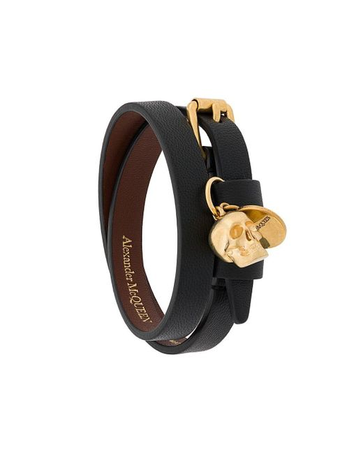 Alexander McQueen Multicolor Skull Double-wrap Bracelet