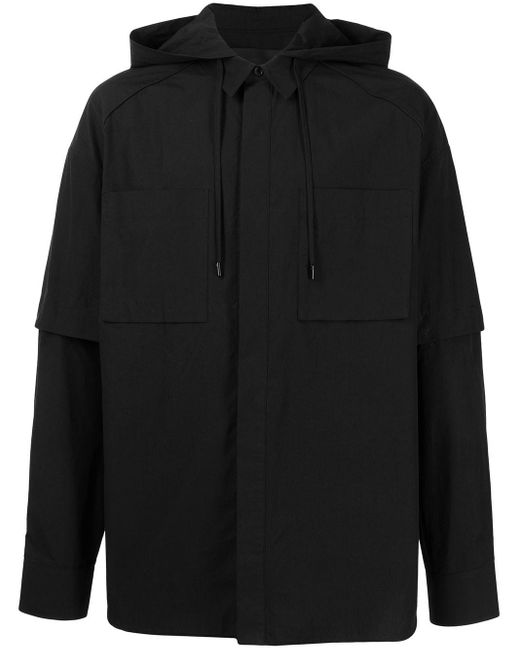 メンズ Juun.J ボタン フーデッドシャツ Black