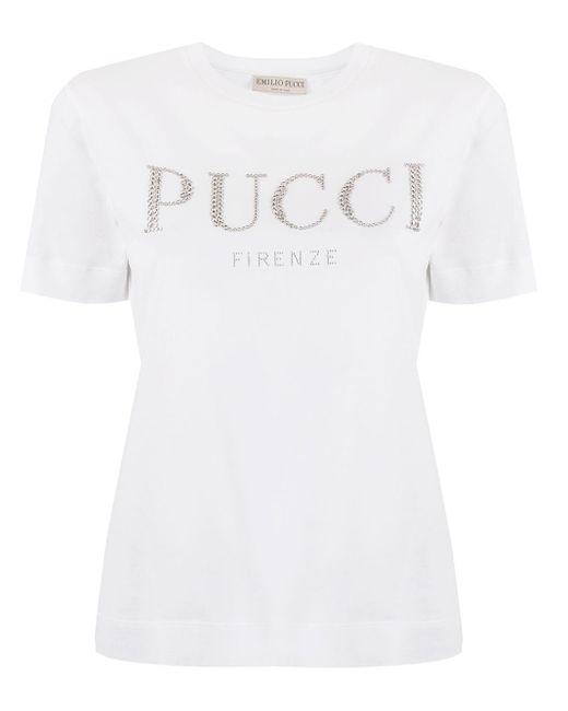 Emilio Pucci Strass ロゴ Tシャツ White