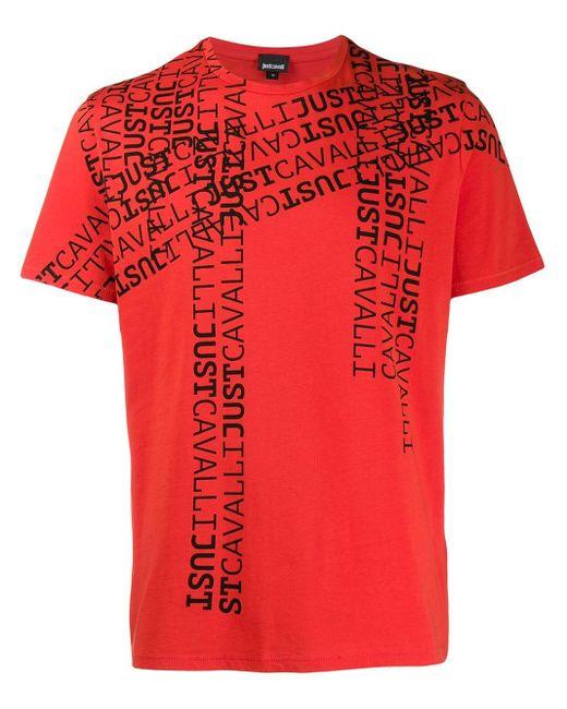 メンズ Just Cavalli ロゴ Tシャツ Red