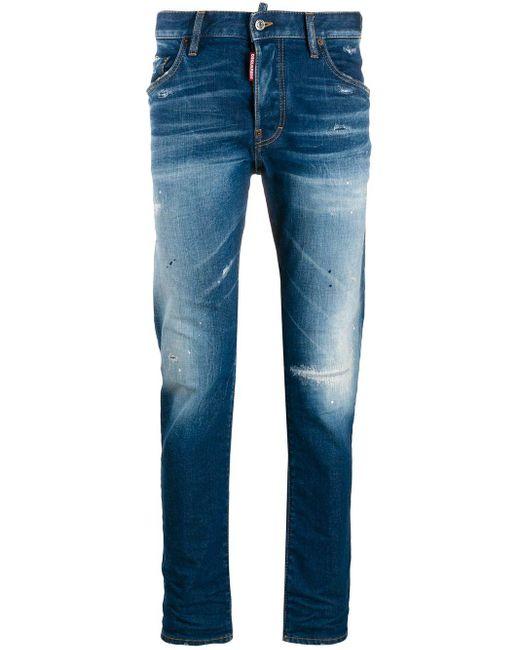 メンズ DSquared² ロゴ ロングtシャツ Blue