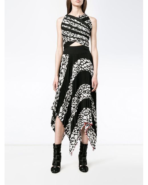Плиссированное Платье С Прорезями И Леопардовым Принтом Proenza Schouler, цвет: Black