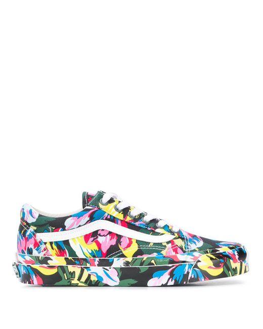 KENZO Green X Vans Floral Print Old Skool Sneakers