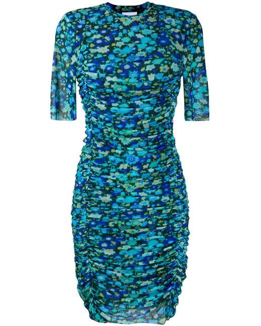 Ganni Vestido corto fruncido con motivo floral de mujer de color azul