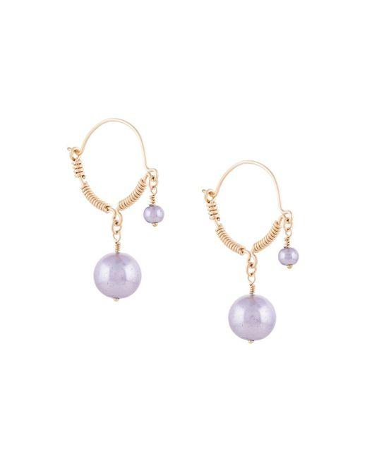Petite Grand Purple Faux-pearl Wire Detail Earrings