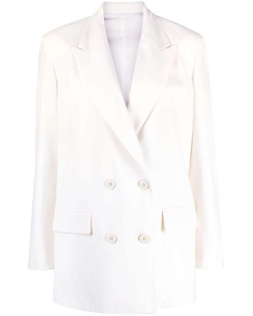Valentino White Double-breasted Blazer Jacket