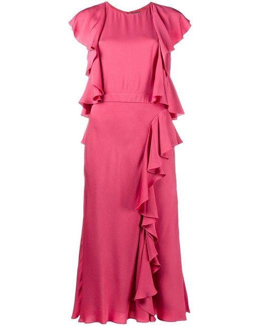 Alexander McQueen ラッフル ミディパーティードレス Pink