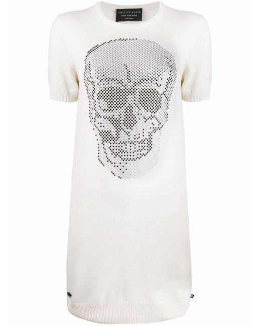 Robe courte en maille à motif tête de mort Philipp Plein en coloris White