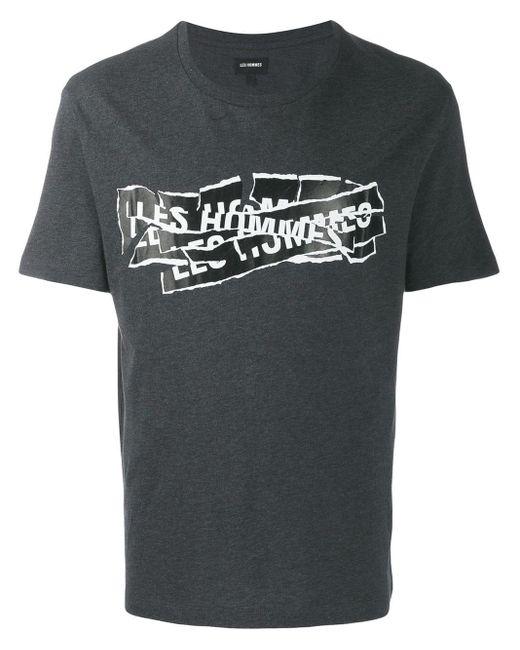 メンズ Les Hommes ロゴプリント Tシャツ Gray