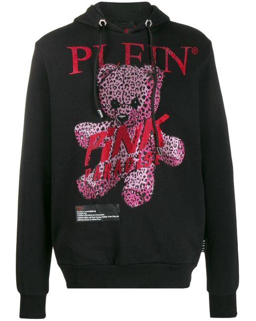 メンズ Philipp Plein Pink Paradise テディベア パーカー Black