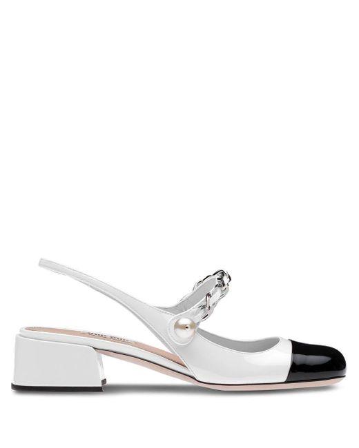 Miu Miu White Slingback Ballerina Pumps