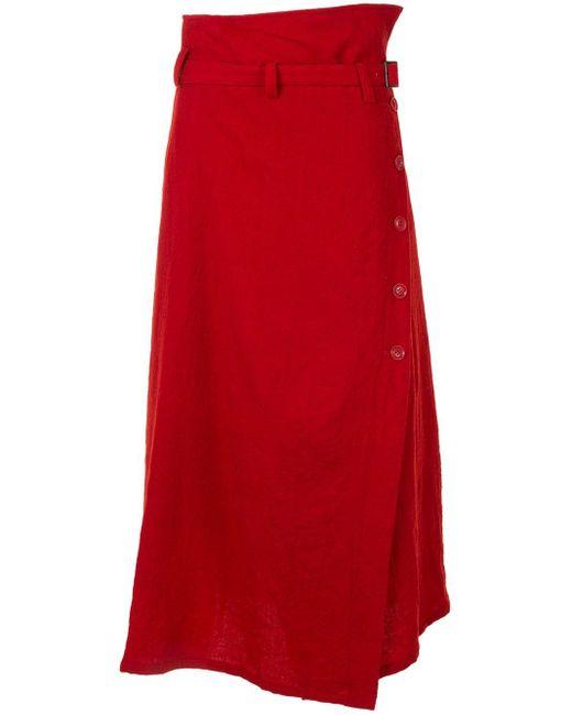 Юбка Миди С Поясом И Пуговицами Y's Yohji Yamamoto, цвет: Red