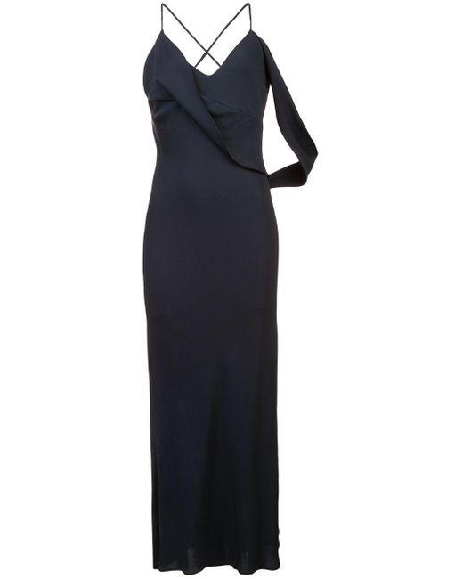 Michelle Mason Black Draped Stretch-crepe Midi Dress