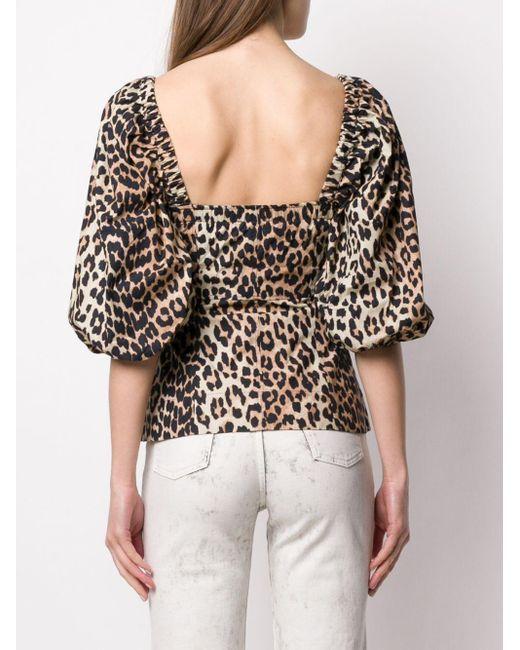 Блузка С Леопардовым Принтом Ganni, цвет: Multicolor