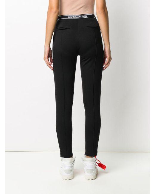 Calvin Klein ロゴ テーパードパンツ Black