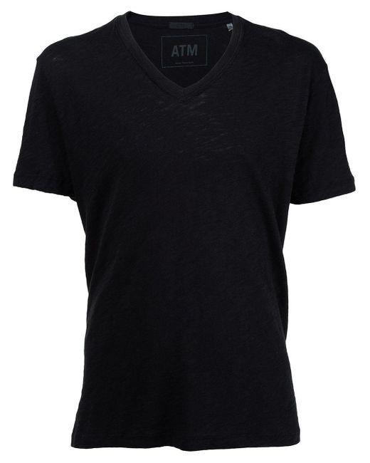 メンズ ATM Vネック ジャージーtシャツ Black