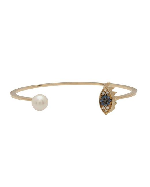 Delfina Delettrez - Blue 'eye Piercing' Diamond And Sapphire Bangle - Lyst