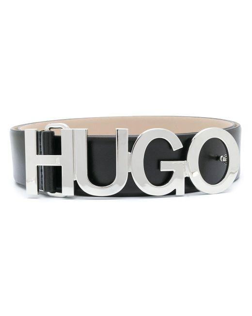 メンズ BOSS by Hugo Boss ロゴプレート ベルト Black