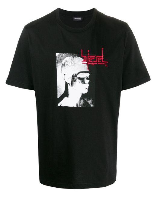 メンズ DIESEL T-just グラフィック Tシャツ Black