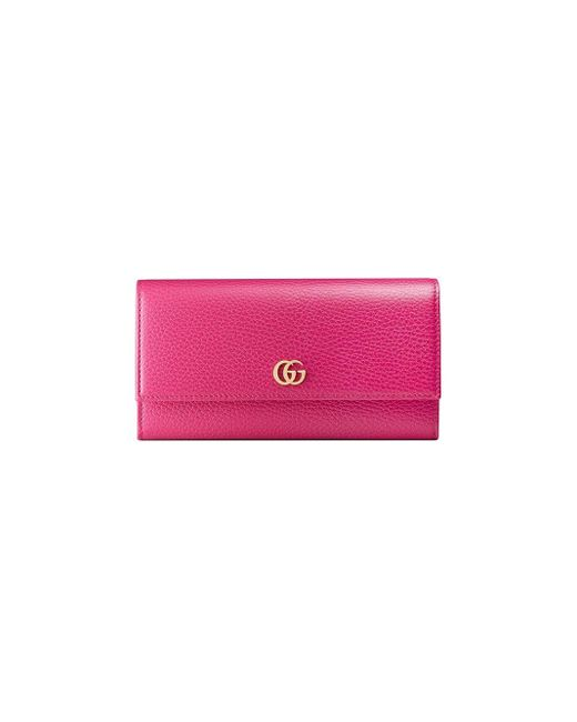 Gucci Pink GG Marmont Leather Continental Wallet