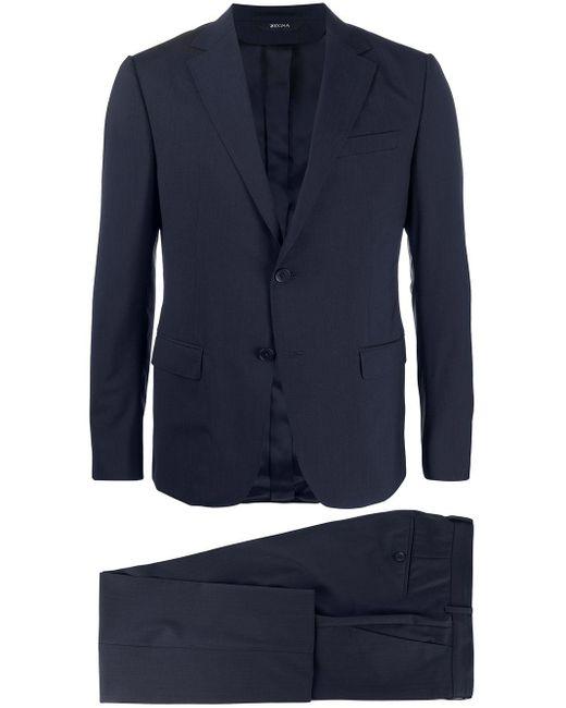 メンズ Z Zegna シングル ツーピーススーツ Blue
