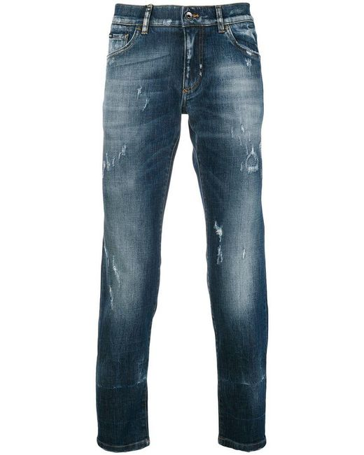 Dolce & Gabbana - Blue Faded Slim Fit Jeans for Men - Lyst