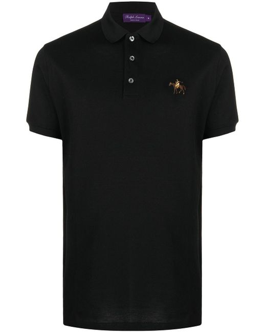 メンズ Ralph Lauren Purple Label ロゴ ポロシャツ Black