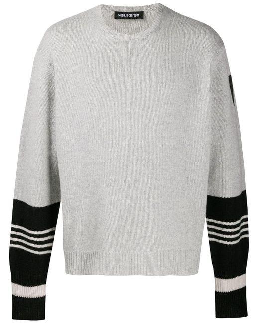 Neil Barrett Gray Stripe-detail Knitted Jumper for men
