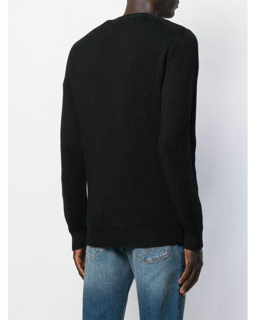 メンズ Versace リブ プルオーバー Black