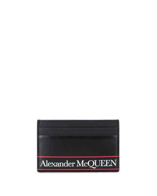 メンズ Alexander McQueen ブラック ロゴ カード ホルダー Black