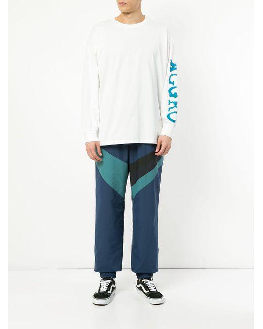 メンズ Facetasm Contrast Stripe Track Pants Blue