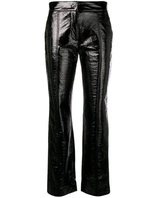 MSGM メタリック クロップドパンツ Black