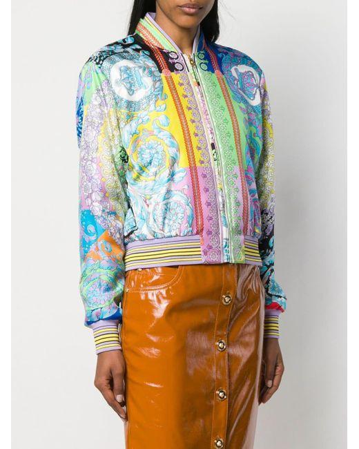 c670be219 Women's Blue Baroque Print Bomber Jacket