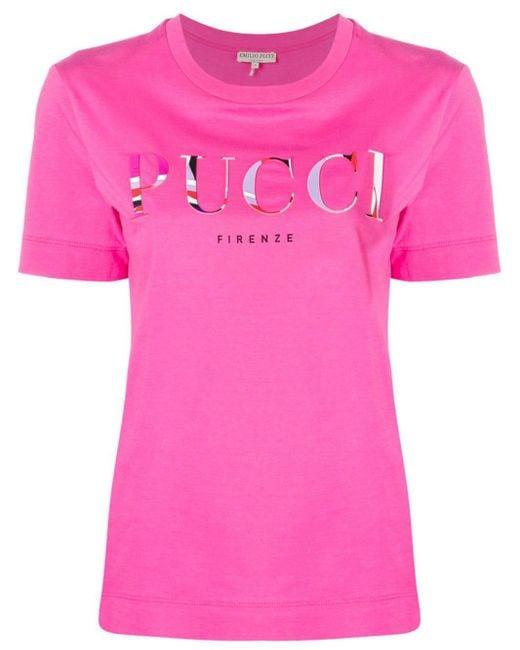 Emilio Pucci Camiseta con logo bordado de mujer de color rosa Kbzqg