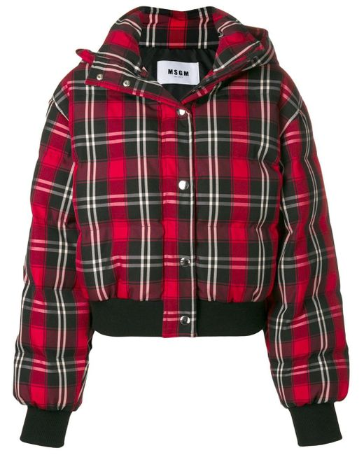 Checked bomber jacket MSGM en coloris Red