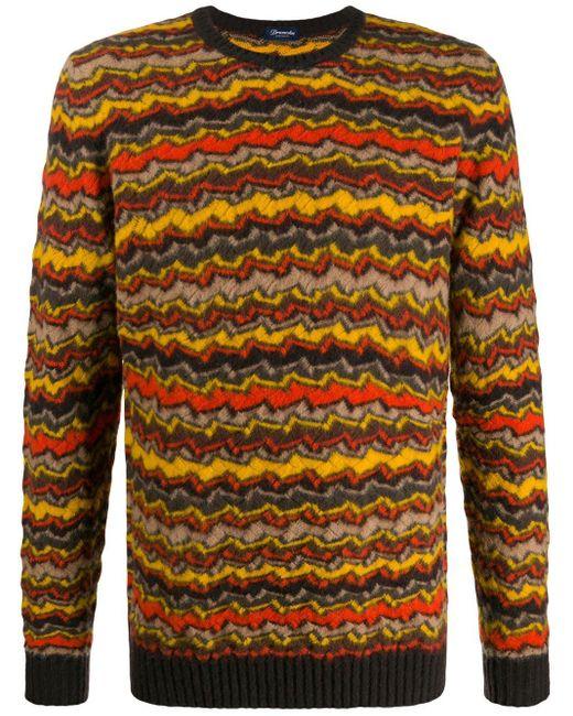 メンズ Drumohr ストライプ セーター Yellow