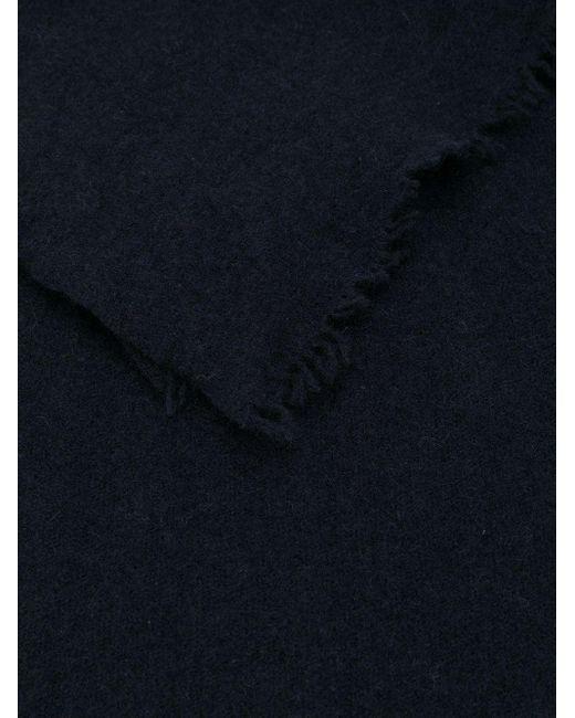Faliero Sarti カシミア フレイドエッジ スカーフ Blue
