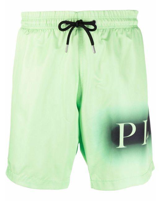 メンズ Philipp Plein ロゴ トランクス水着 Green