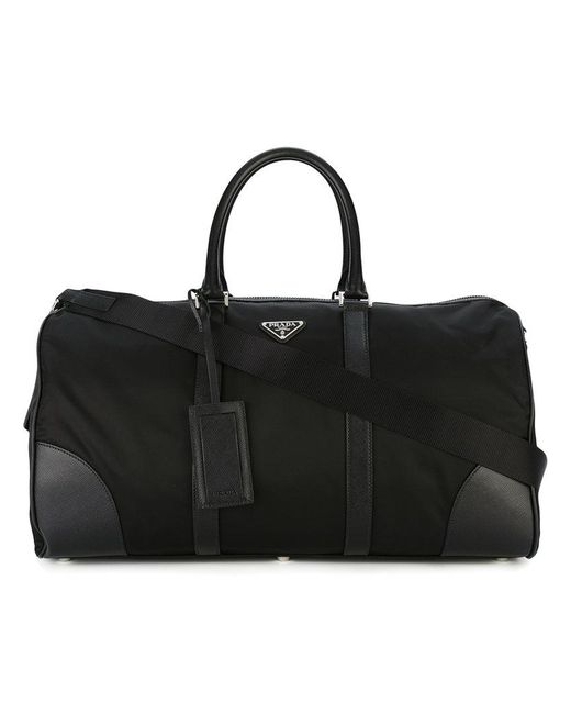Prada - Black - Logo Plaque Travel Holdall - Men - Leather/polyester - One Size for Men - Lyst