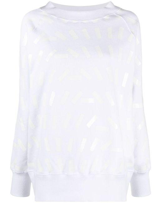 Maison Margiela White Tape Print Sweatshirt