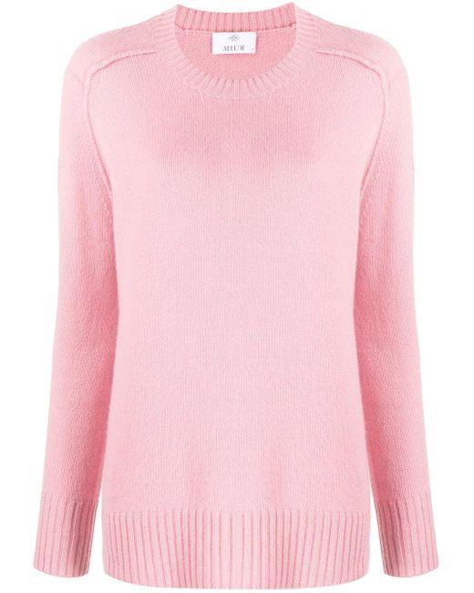 Allude Pink Pullover mit gerippten Details